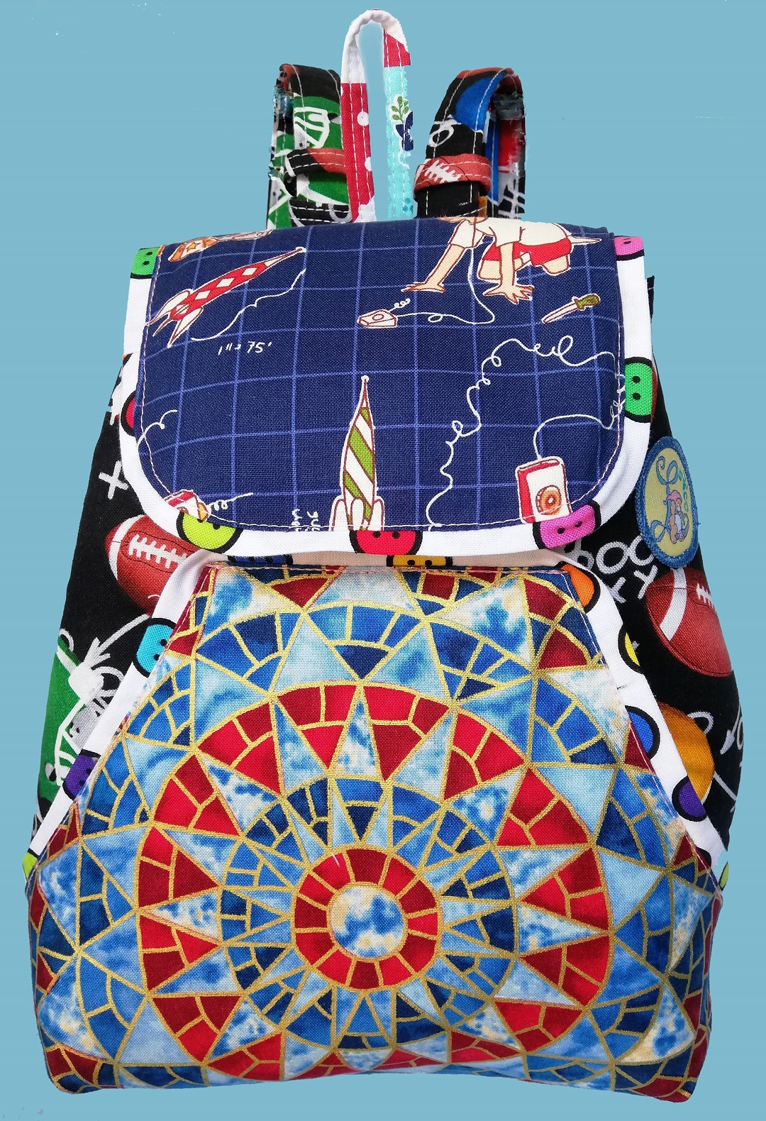 Rugby Balls & Mosaic Backpack